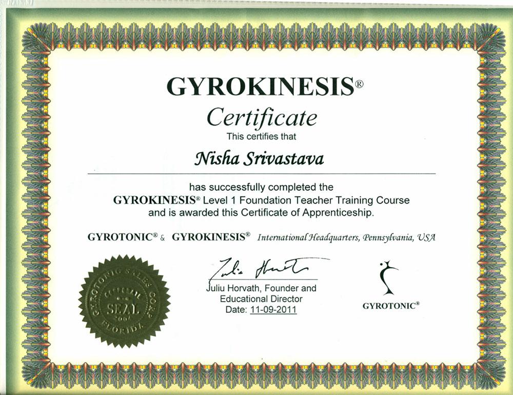 GYROKENISIS Certificate